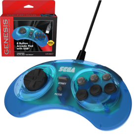 SEGA Genesis® 8-button Arcade Pad with USB® - M1- Clear Blue