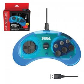 SEGA Genesis® 6-button Arcade Pad with USB® - Clear Blue