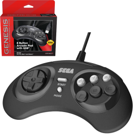 SEGA Genesis® 8-button Arcade Pad with USB® - M1- Black