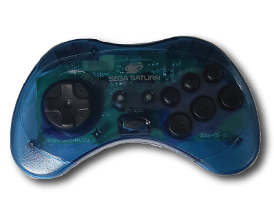 SEGA Saturn, 2.4 GHz, Wireless, clear blue, 8 button, arcade
