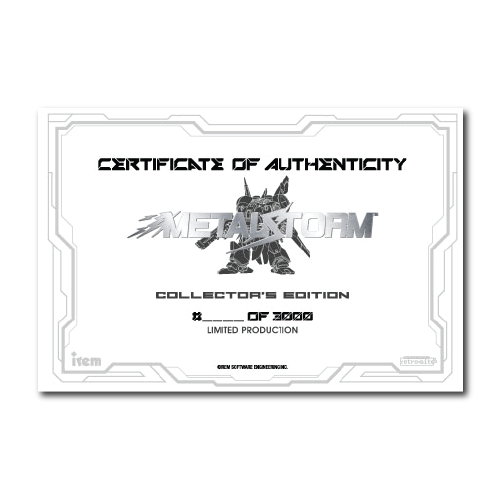 Metal Storm, Certificate, Authenticity, Numbered