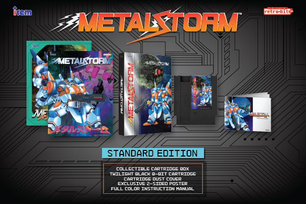 Metal Storm, Standard Edition, Irem, Retro-Bit, Limited Run Games, Europe, Castlemania Games, Twilight Black