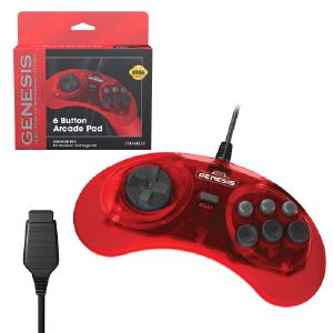 SEGA Genesis 6-Button Arcade Pad - Crimson Red