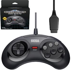 SEGA Megadrive 6-button Arcade Pad - Original Port - Black (EU)