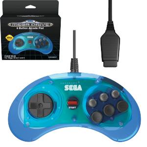 SEGA Megadrive 6-button Arcade Pad - Original Port - Clear Blue (EU)