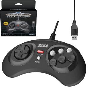 SEGA Megadrive 8-button Arcade Pad- USB Port - Black (EU)