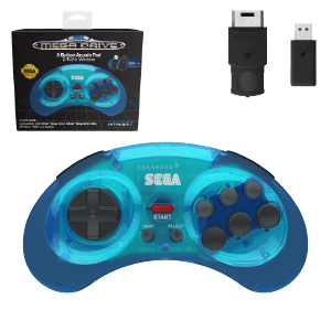 SEGA® Mega Drive 8-Button Arcade Pad - 2.4 GHz Wireless - Clear Blue