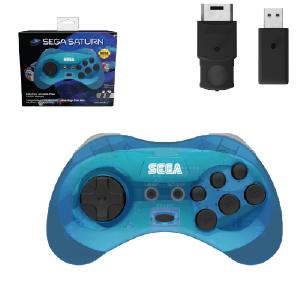 SEGA Saturn Control Pad - Model 2 - Wireless 2.4ghz - Clear Blue (EU Version)