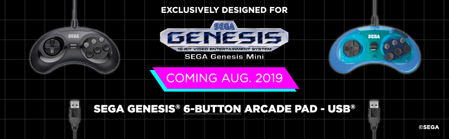 SEGA, Genesis, Mini, 6-Button, USB, Arcade Pad, Retro-Bit, Black