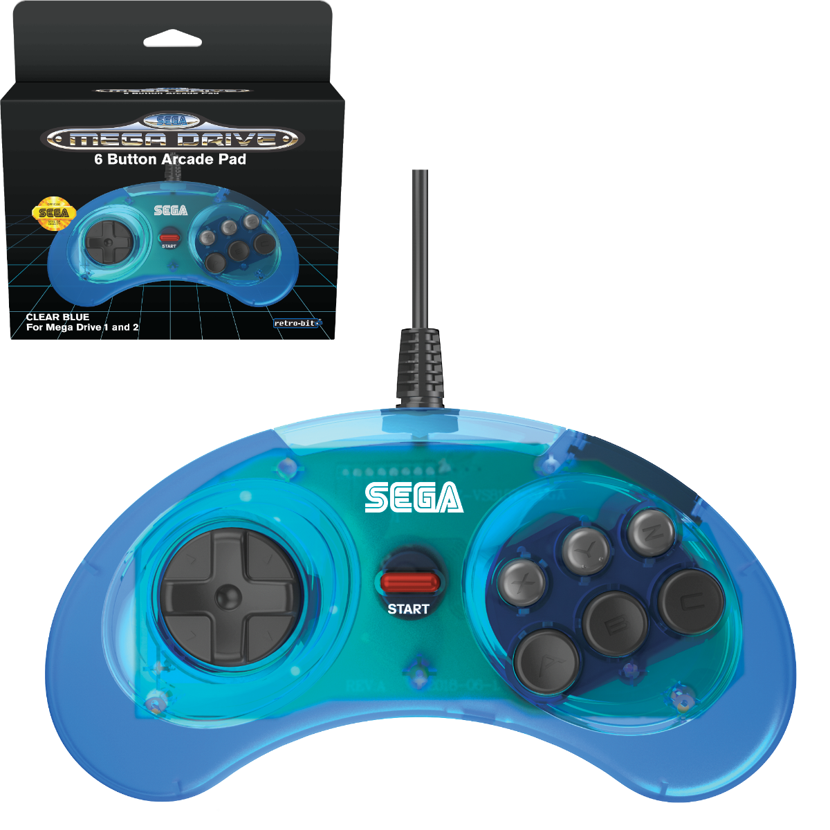 SEGA, Mega Drive, Arcade Pad, 6 Button, Clear Blue, Original