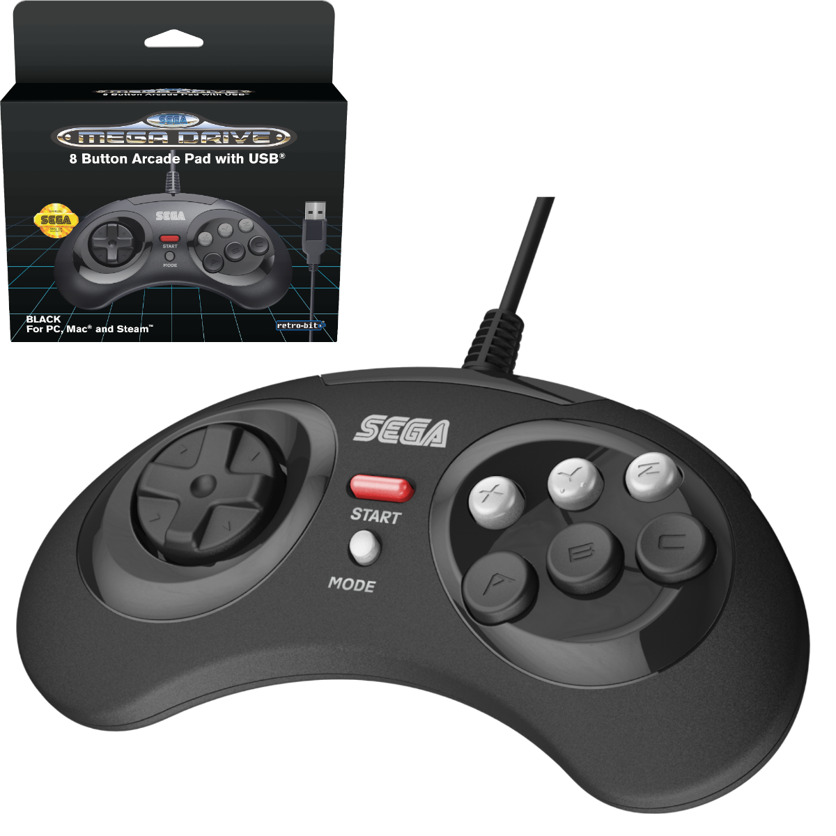 SEGA, Mega Drive, Arcade Pad, 8 Button, Black, USB