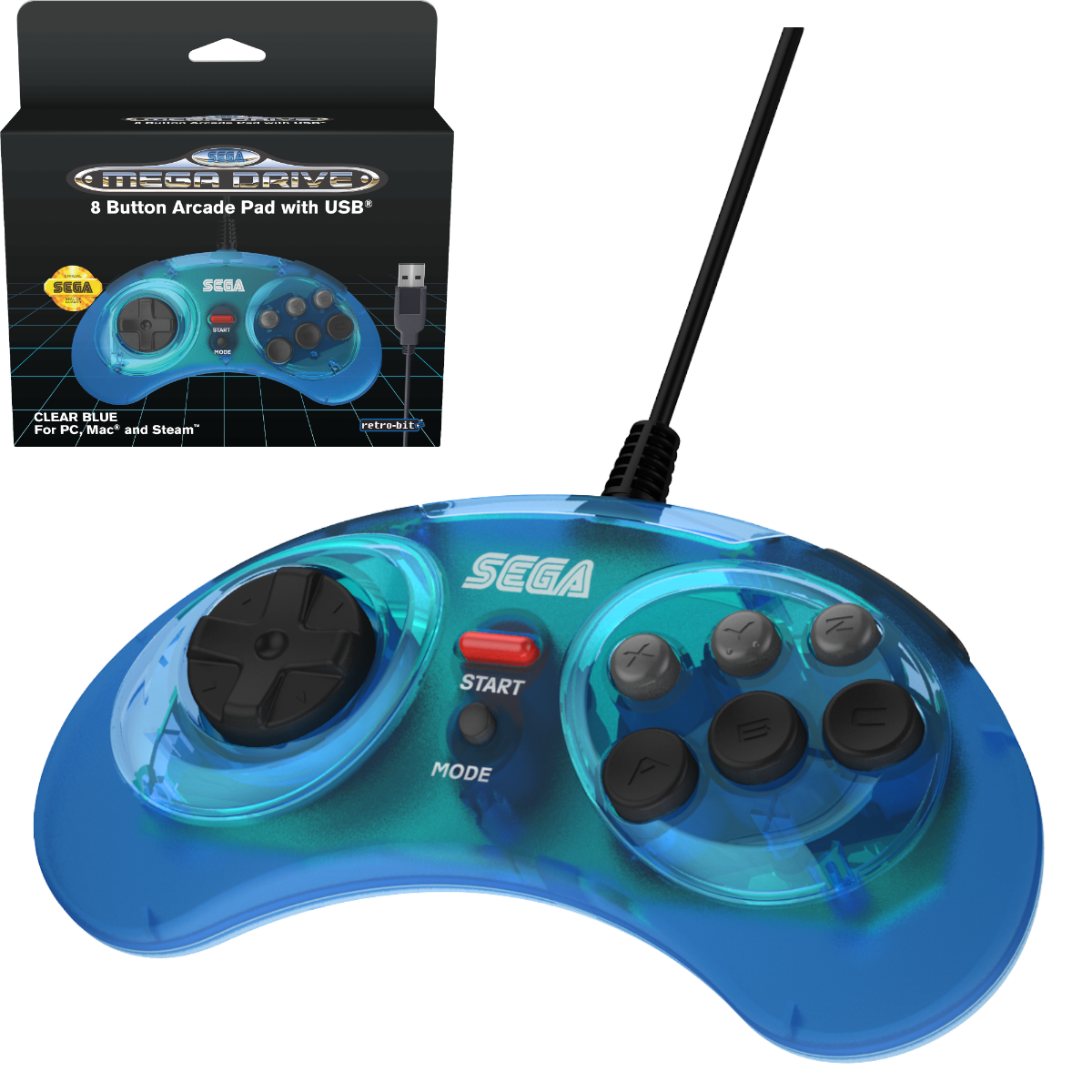 SEGA, Mega Drive, Arcade Pad, 8 Button, Clear Blue, USB