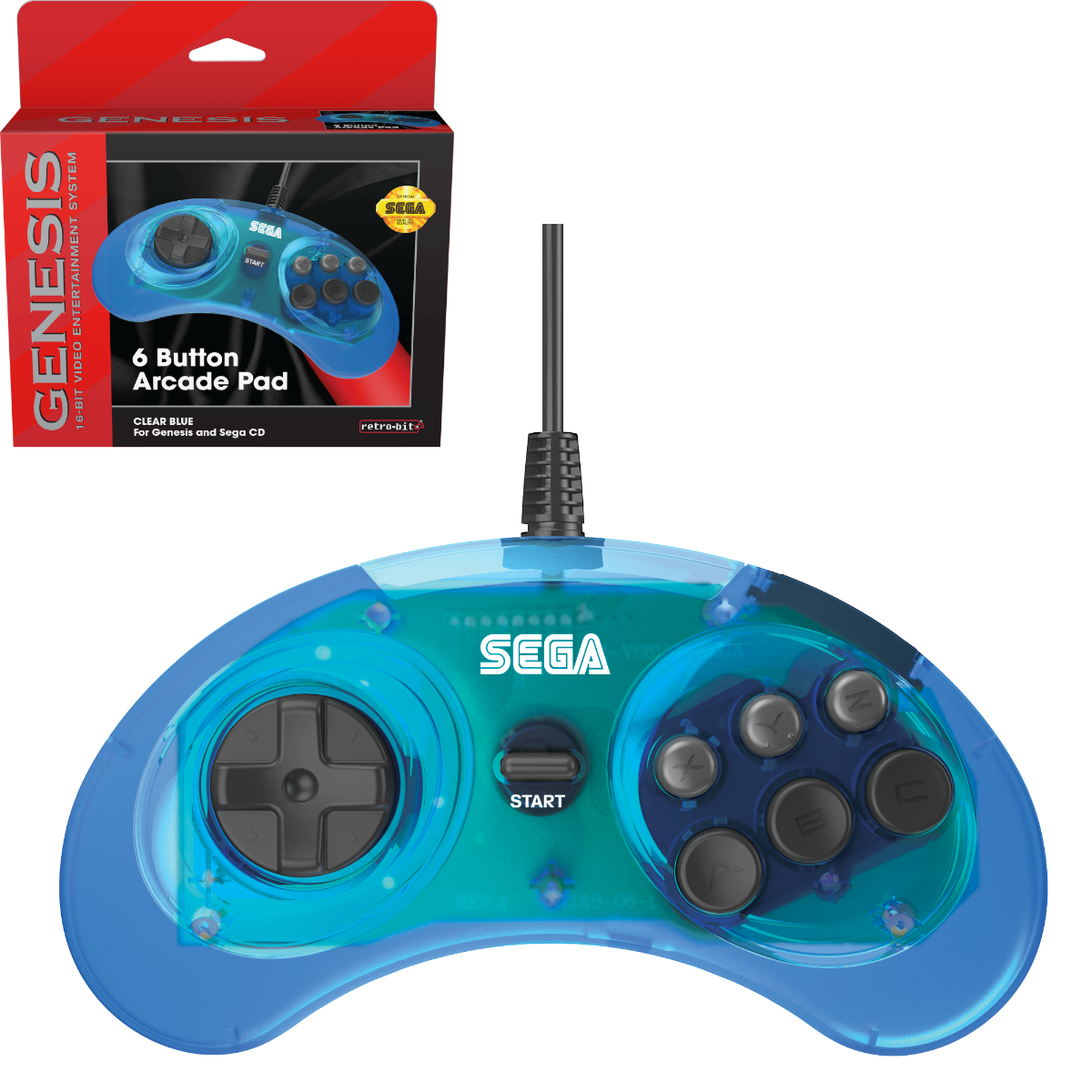 SEGA, Genesis, Arcade Pad, 6 Button, Black, Original