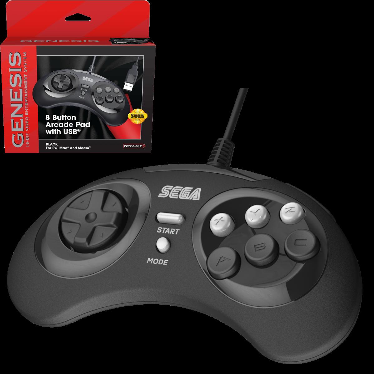 SEGA, Genesis, Arcade Pad, 8 Button, Black, USB