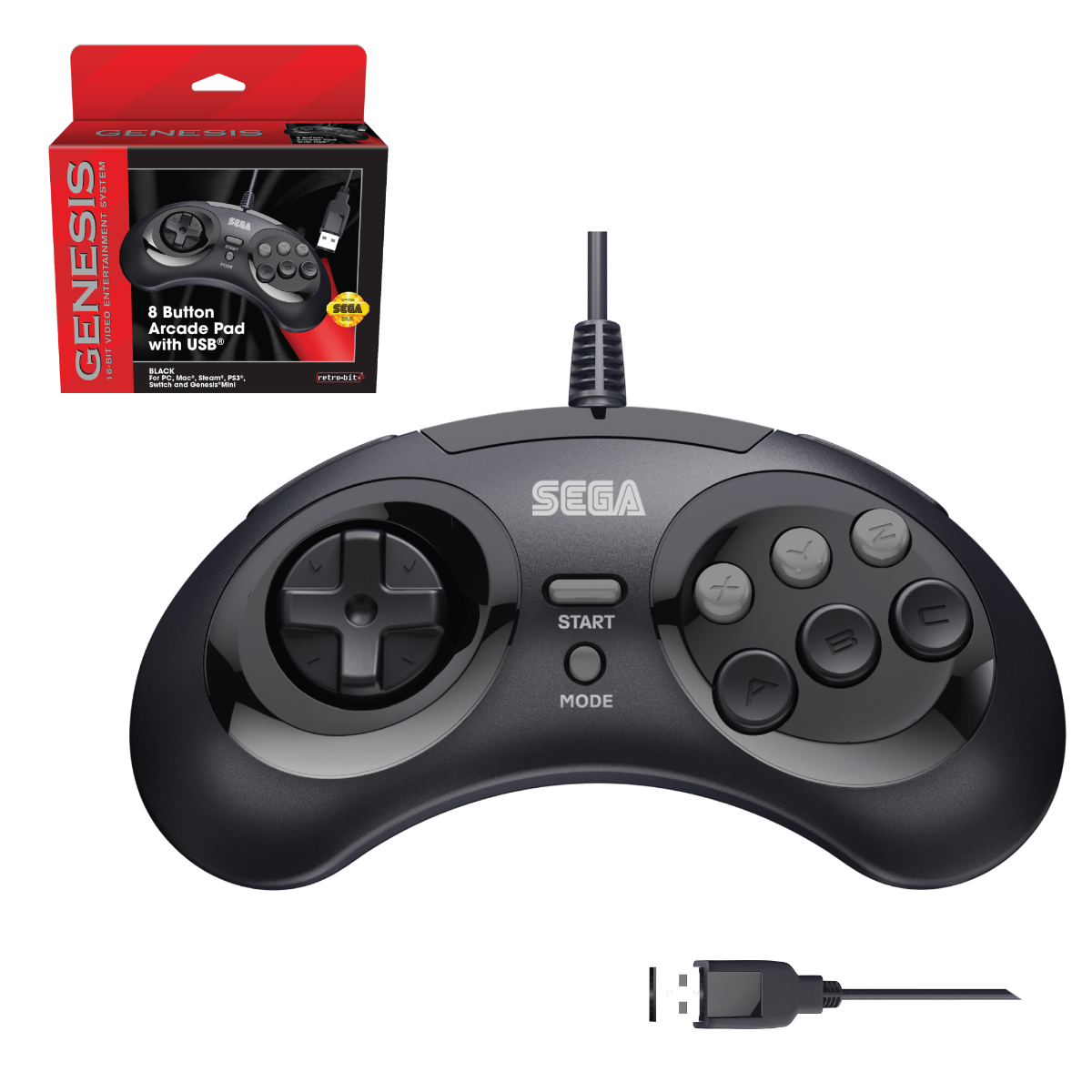 SEGA, Genesis, Arcade Pad, 8 Button, Black, USB