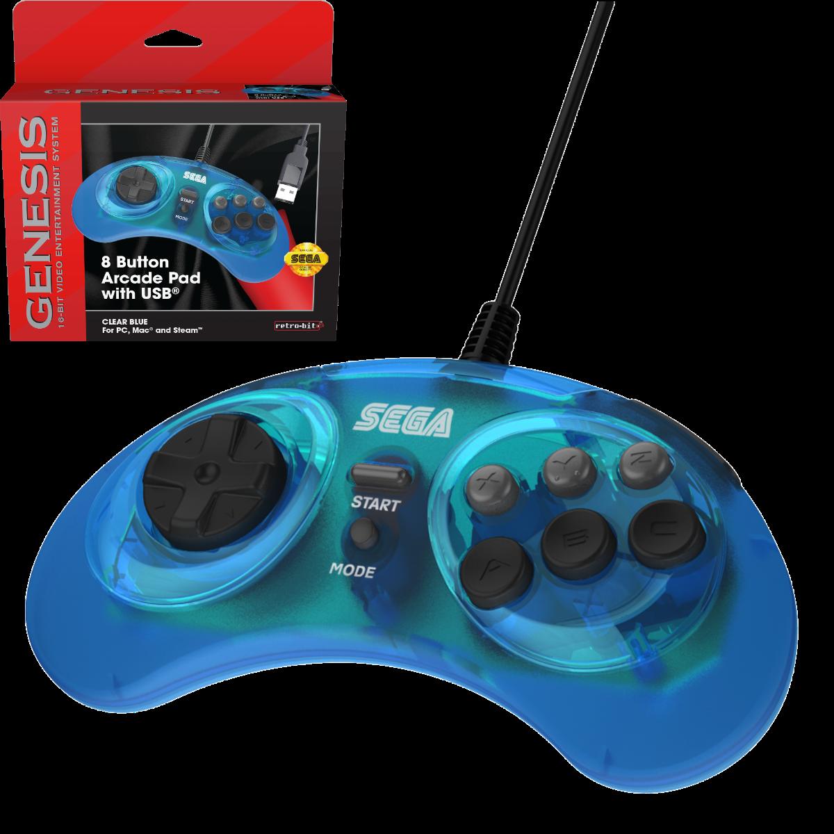 SEGA, Genesis, Arcade Pad, 8 Button, Clear Blue, USB