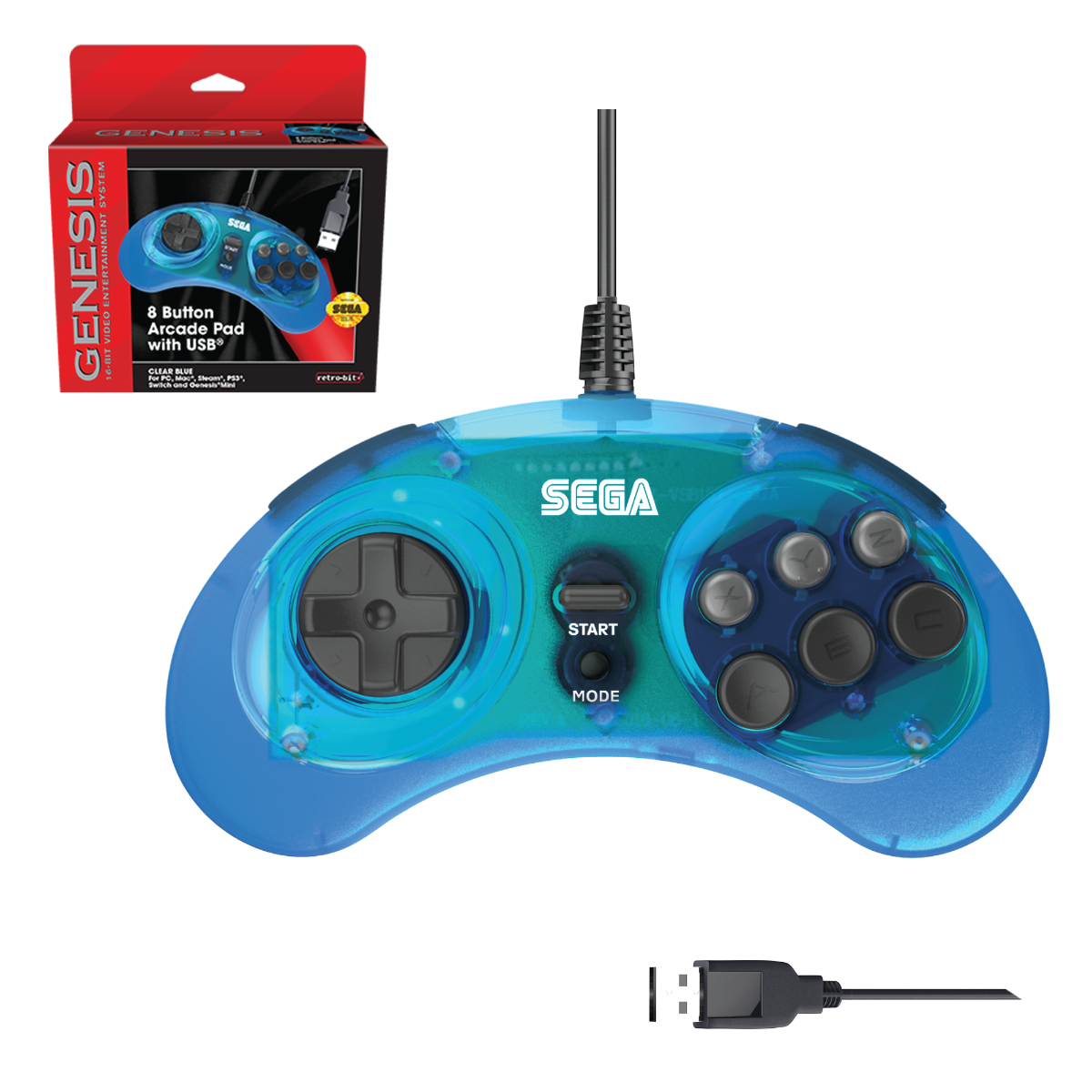 SEGA, Genesis, Arcade Pad, 8 Button, Clear Blue, USB