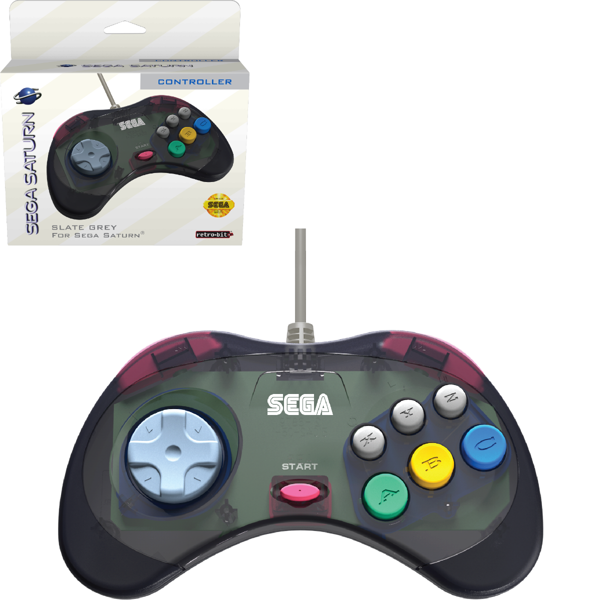 SEGA, Saturn, Arcade Pad, 8 Button, Slate Grey, USB