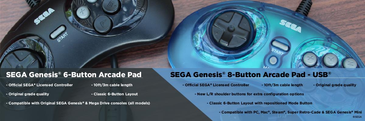 Genesis, Controller, Arcade, Retro-Bit, USB