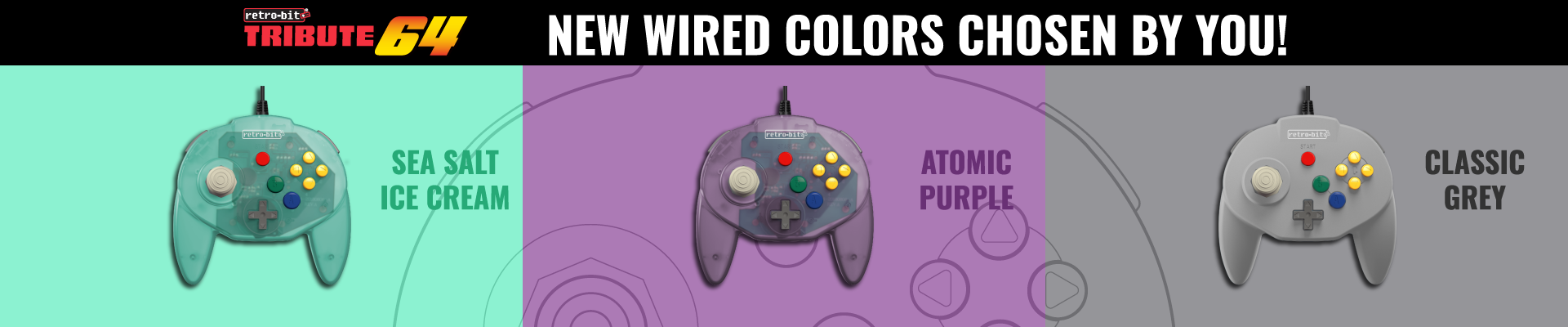 Tribute64, N64, USB, Retro-Bit, Platinum Collection, New, Colors, Atomic Purple, Sea Salt Ice Cream, Classic Grey, N64