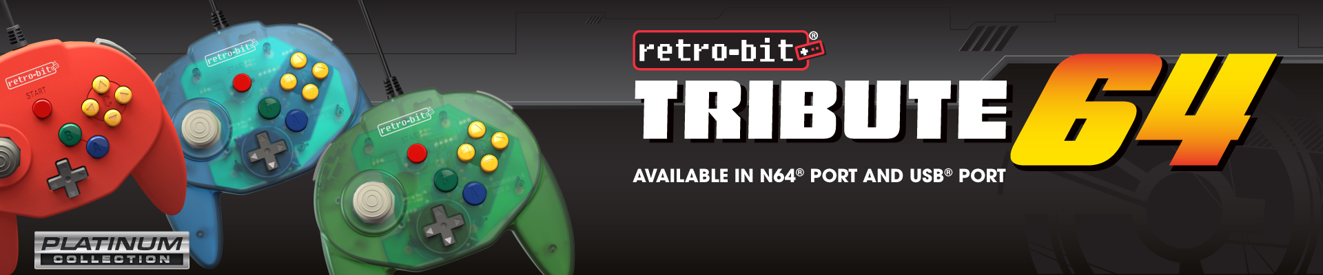 Tribute64, N64, USB, Retro-Bit, Platinum Collection