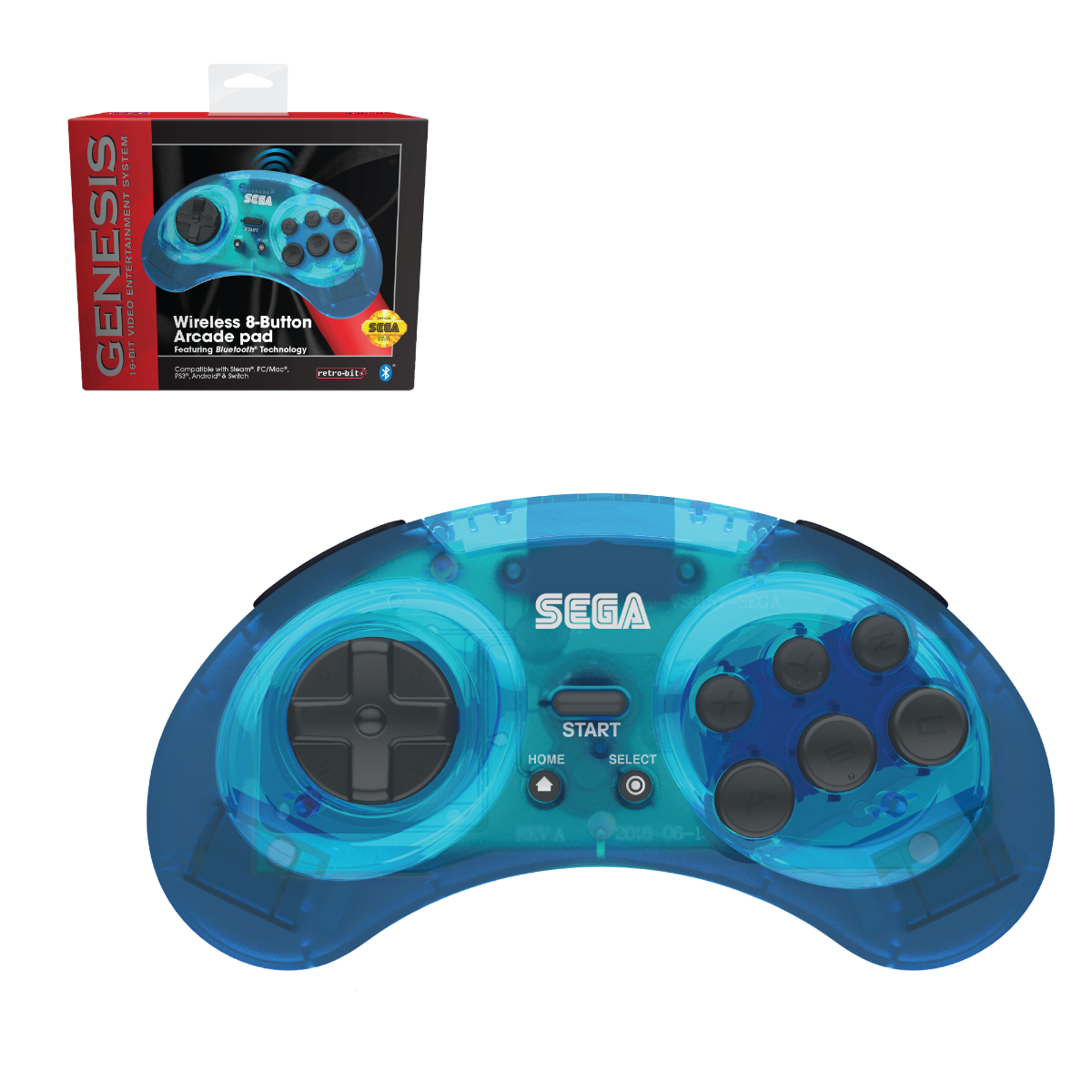 SEGA, Genesis, 8-Button, Arcade Pad, wireless, Bluetooth, Clear Blue