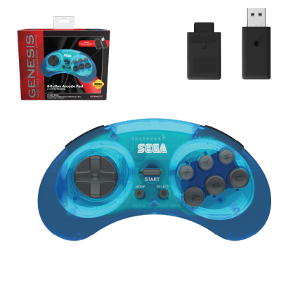 SEGA, Genesis, 2.4 GHz Wireless, 8-Button, Arcade Pad, Controller, USB, PC, Mac, PS3, Switch, Genesis Mini, Clear Blue
