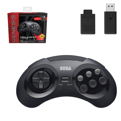 SEGA, Genesis, 2.4 GHz Wireless, 8-Button, Arcade Pad, Controller, USB, PC, Mac, PS3, Switch, Genesis Mini, Black