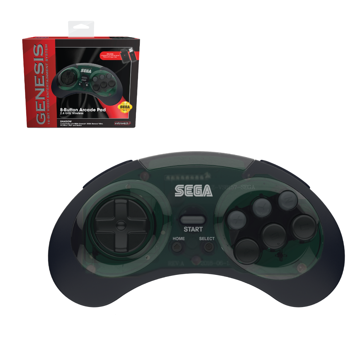SEGA, Genesis, 2.4 GHz Wireless, 8-Button, Arcade Pad, Controller, USB, PC, Mac, PS3, Switch, Genesis Mini, Shadow