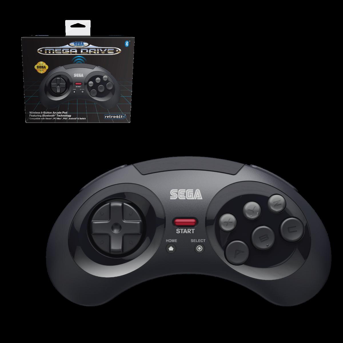 SEGA, Mega Drive, 8-Button, Arcade Pad, wireless, Bluetooth, Black
