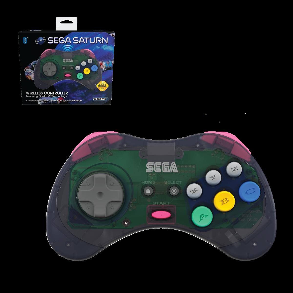 SEGA, Saturn, wireless, 8-button, arcade pad, bluetooth, PC, Mac, Android, Switch, Slate Grey
