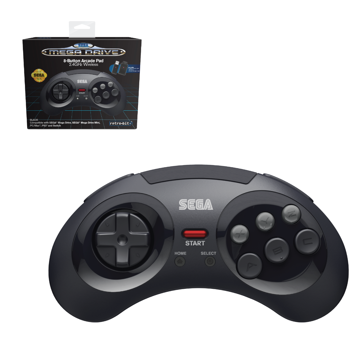 SEGA, Mega Drive, 2.4 GHz Wireless, 8-Button, Arcade Pad, Controller, USB, PC, Mac, PS3, Switch, Genesis Mini, Black