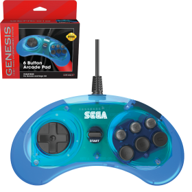 SEGA Genesis® 6-button Arcade Pad - Clear Blue