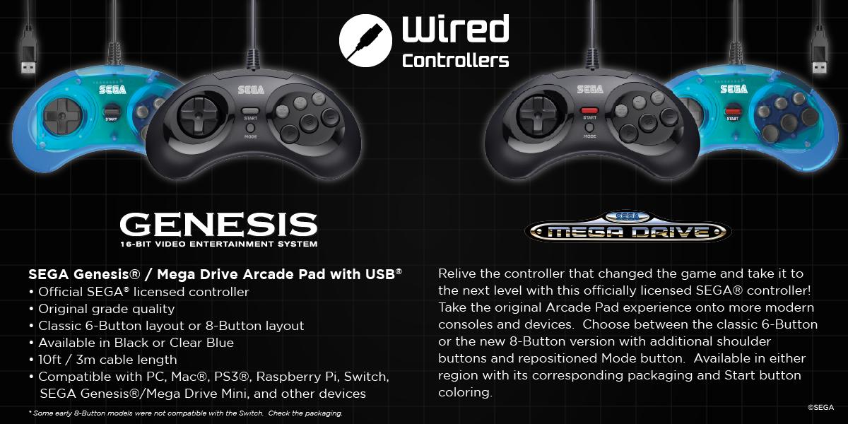 SEGA Genesis and Mega Drive USB Arcade Pads