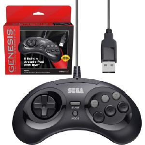 SEGA Genesis 8-button Arcade Pad- USB Port - Black