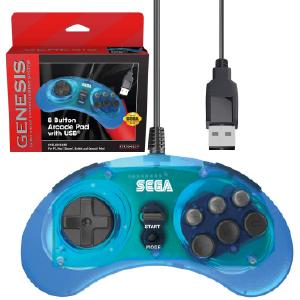 SEGA Genesis 8-button Arcade Pad - USB Port - Clear Blue