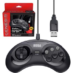 SEGA Genesis 6-button Arcade Pad - USB Port - Black