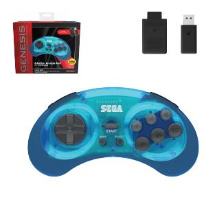 SEGA Genesis® 8-Button Arcade Pad - 2.4 GHz Wireless - Clear Blue