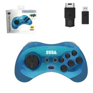SEGA Saturn Control Pad - Model 2 - Wireless 2.4ghz - Clear Blue
