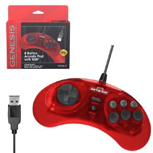 SEGA Genesis 8-Button USB Arcade Pad - Crimson Red