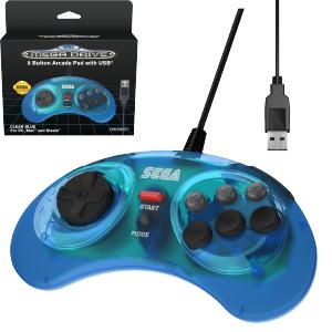 SEGA Megadrive 8-button Arcade Pad - USB Port - Clear Blue (EU)