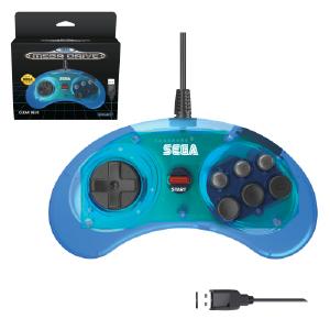 SEGA Megadrive 6-button Arcade Pad - USB Port - Clear Blue (EU Version)