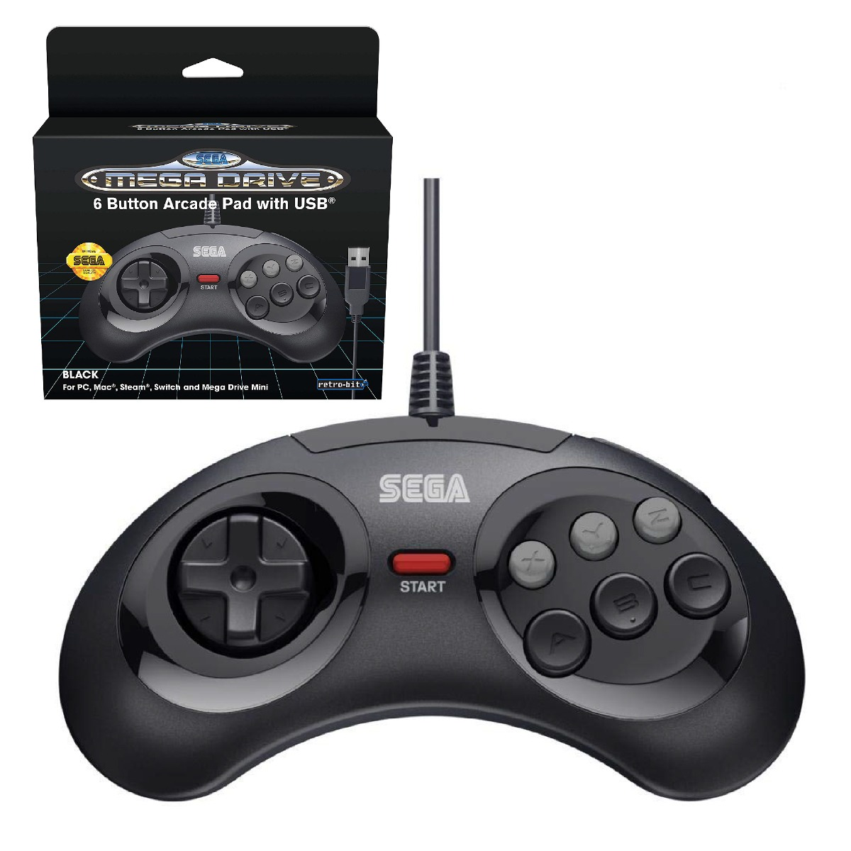 SEGA, Retro-Bit, Mega Drive, Original, Controller, 6-Button, USB, Mega Drive Mini, PC, Mac, Steam, PS3, Switch