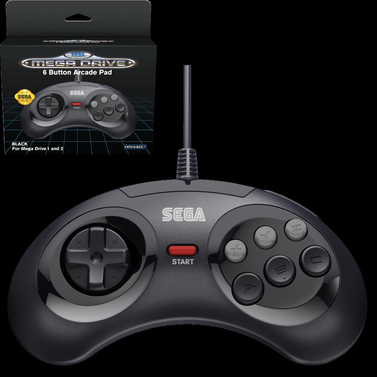 SEGA, Mega Drive, Arcade Pad, 6 Button, Black, Original