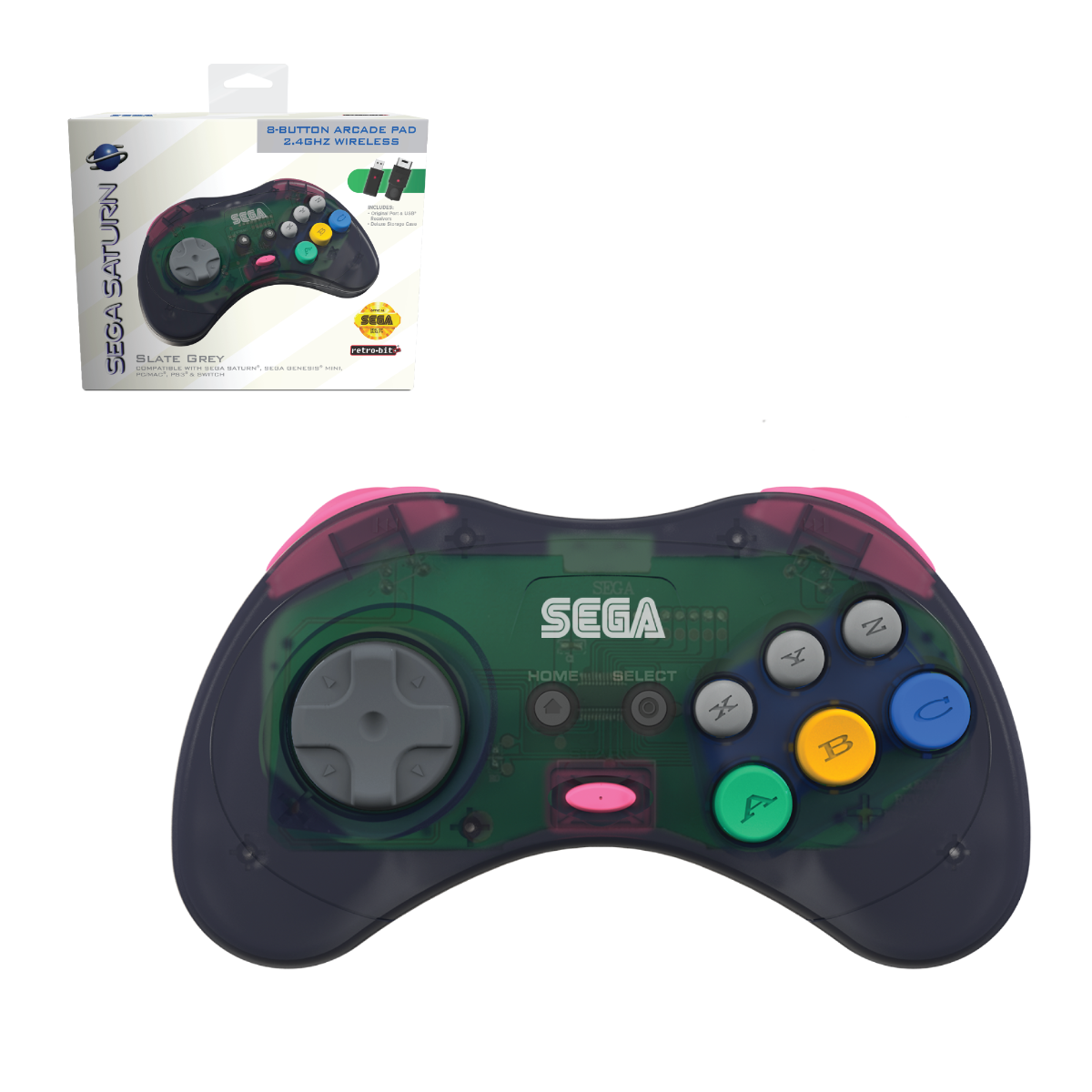 SEGA, Saturn, 8-Button, Arcade Pad, Controller, 2.4 GHz Wireless, USB, PC, Mac, PS3, Android, Genesis Mini, Switch, Slate Grey