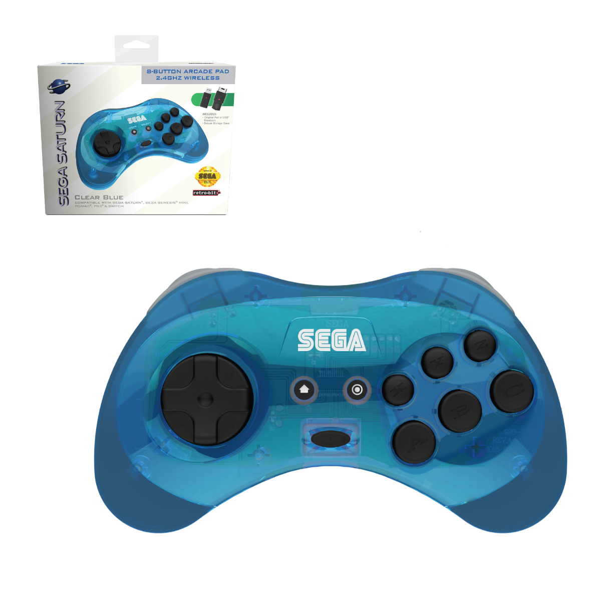 SEGA, Saturn, 8-Button, Arcade Pad, Controller, 2.4 GHz Wireless, USB, PC, Mac, PS3, Android, Genesis Mini, Switch, Clear Blue