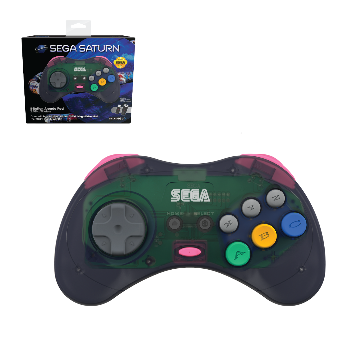SEGA, Saturn, 8-Button, Arcade Pad, Controller, 2.4 GHz Wireless, USB, PC, Mac, PS3, Android, Genesis Mini, Switch, Slate Grey
